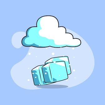 Ilustração de blocos de gelo sob as nuvens