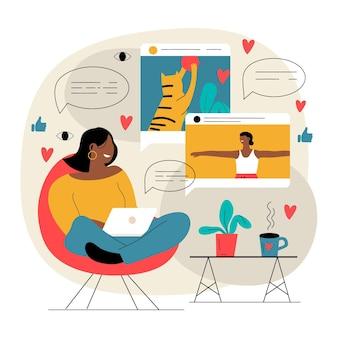 Ilustração de blogging de vídeo influenciador
