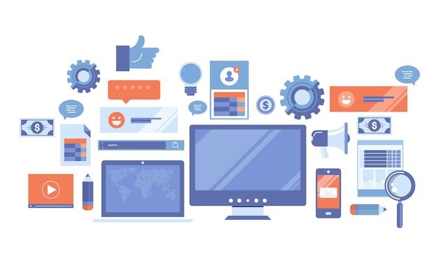 Ilustração de blogs e jornalismo