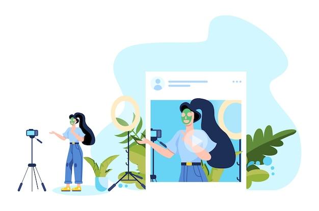 Ilustração de blogs no instagram. ideia de criatividade e criação de conteúdo, profissão moderna. gravação de vídeo de personagem com câmera para seu blog.
