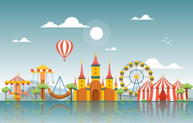 Ilustração de boas festas do parque de diversões castle circus