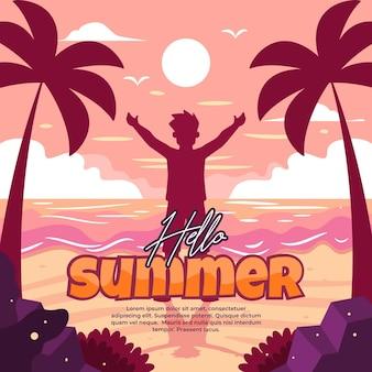 Ilustração de boas-vindas ao verão com atividades divertidas