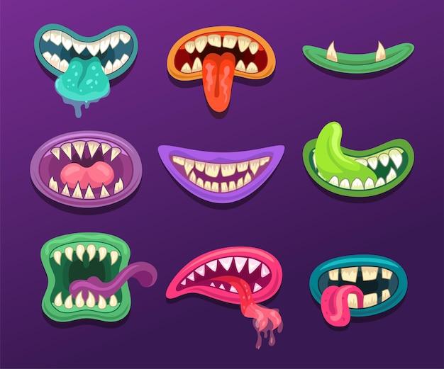 Ilustração de bocas de monstro
