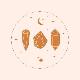 Ilustração de boho celestial e mística com cristais de lua e estrelas