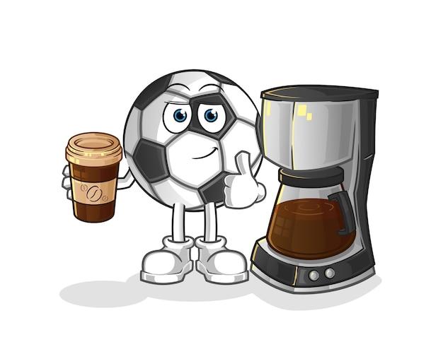 Ilustração de bola bebendo café