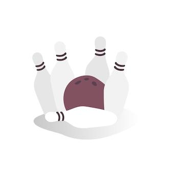 Ilustração, de, bola boliche, e, alfinetes