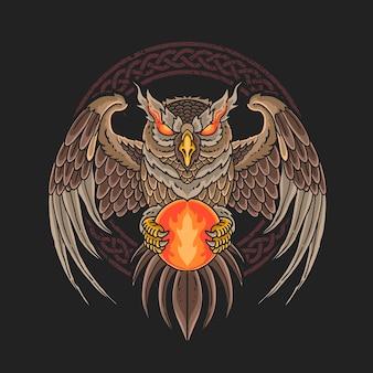 Ilustração de bola de fogo com coruja escura