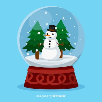 Ilustração de bola de neve de natal boneco de neve
