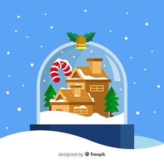 Ilustração de bola de neve de natal plana