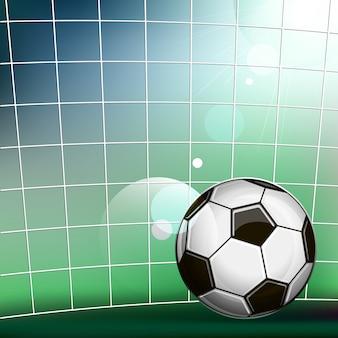 Ilustração, de, bola futebol, em, a, futebol, portão