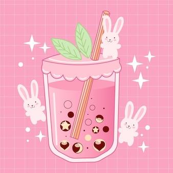 Ilustração de bolha de chá kawaii com coelhos