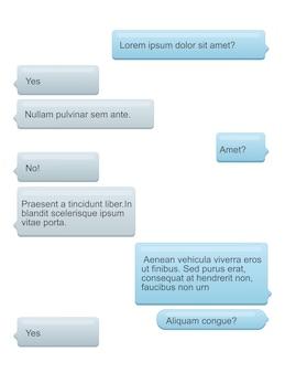 Ilustração de bolhas de bate-papo por telefone com texto na tela do telefone. conceito de mensagens de discurso de sms.