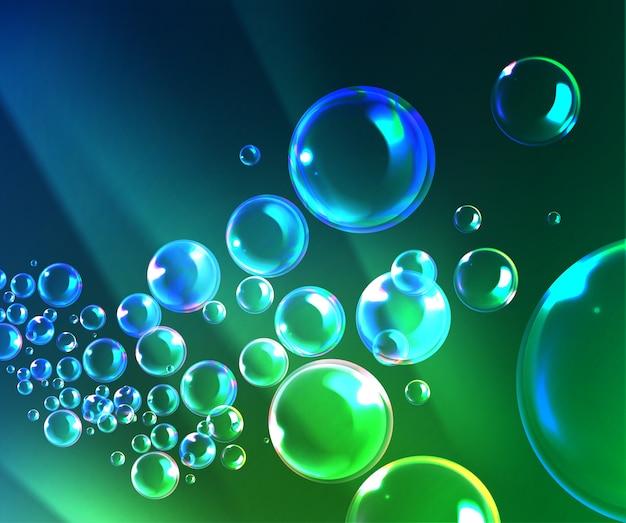 Ilustração de bolhas de sabão com reflexo