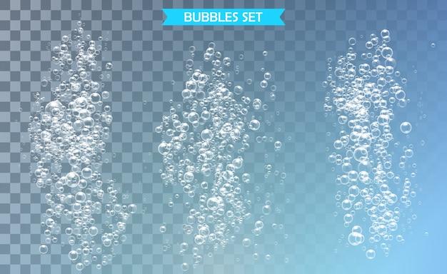 Ilustração de bolhas sob a água em fundo transparente
