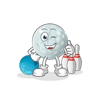 Ilustração de boliche do jogo de bola de golfe. personagem