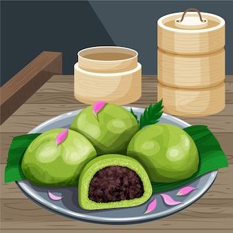 Ilustração de bolinhos ching ming desenhada à mão