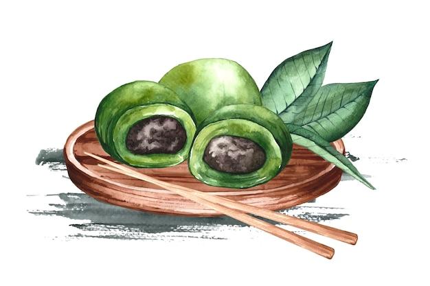 Ilustração de bolinhos ching ming em aquarela