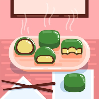 Ilustração de bolinhos flat ching ming