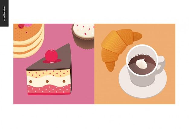 Ilustração de bolo com cereja no topo, pilha de panquecas americanas com bagas
