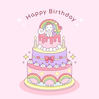 Ilustração de bolo de aniversário feliz por nascer