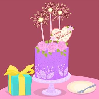 Ilustração de bolo de dia das mães