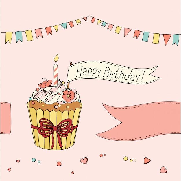 Ilustração de bolo feliz aniversário