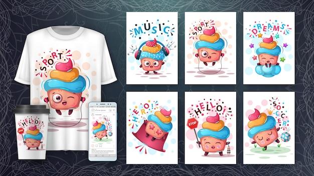 Ilustração de bolo fofo e merchandising