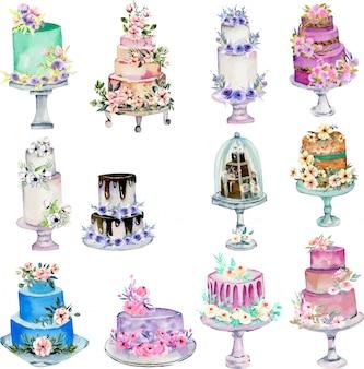 Ilustração de bolos de casamento de férias em aquarela