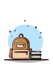 Ilustração de bolsa e dois livros