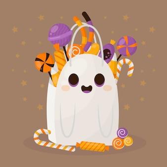 Ilustração de bolsa plana de halloween