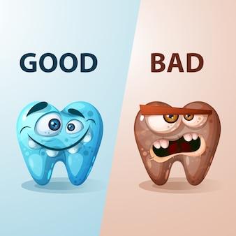 Ilustração de bom e mau dente.