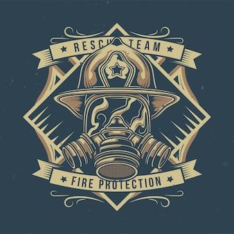 Ilustração de bombeiro com máscara de gás