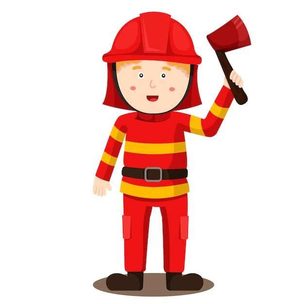 Ilustração, de, bombeiro