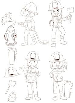 Ilustração de bombeiros e equipamentos