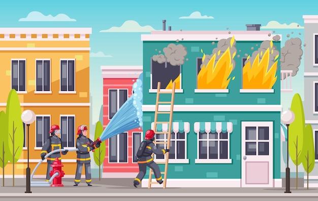 Ilustração de bombeiros em casa em chamas