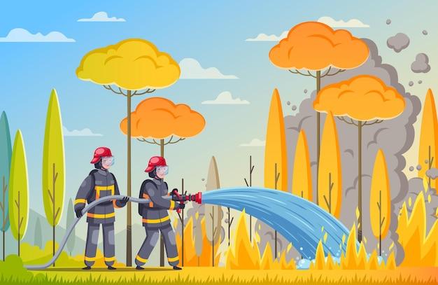 Ilustração de bombeiros na floresta em chamas
