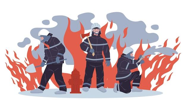 Ilustração de bombeiros