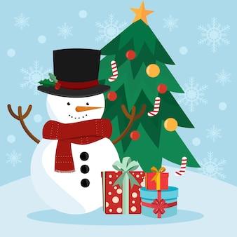 Ilustração de boneco de neve de natal
