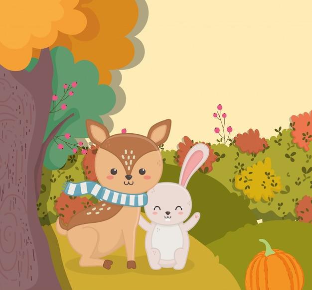 Ilustração de bonitinho veado com floresta de abóbora de outono