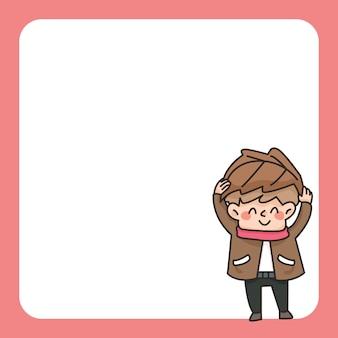 Ilustração de bonito dos desenhos animados de bloco de notas de menino outono