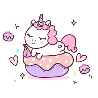 Ilustração de bonito dos desenhos animados de unicórnio: bolo