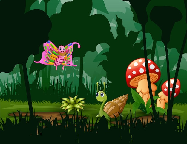 Ilustração de borboleta e caracol no jardim