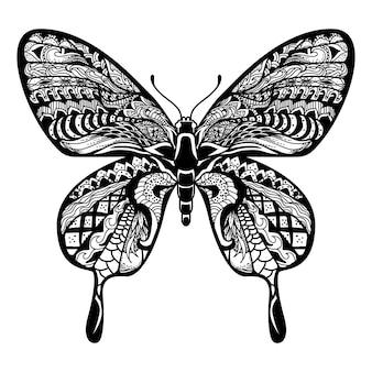 Ilustração de borboleta, mandala zentangle