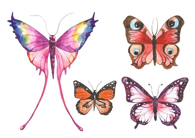 Ilustração de borboletas de aquarela