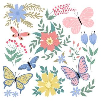 Ilustração de borboletas e flores