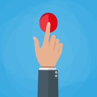 Ilustração de botão de toque de mão.