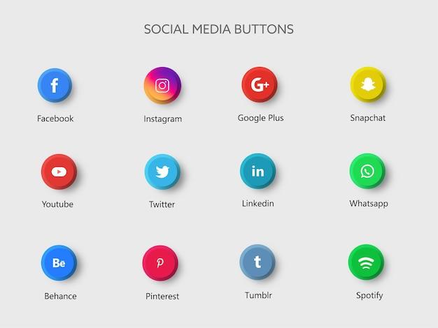 Ilustração de botões de aplicativos de mídia social