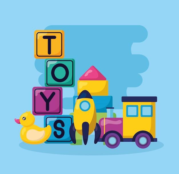 Ilustração de brinquedos de crianças