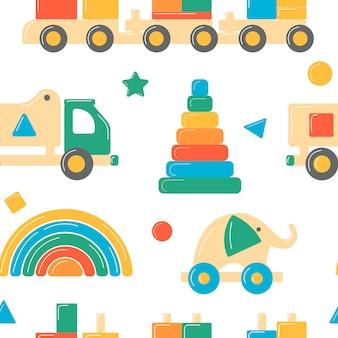 Ilustração de brinquedos de madeira infantis