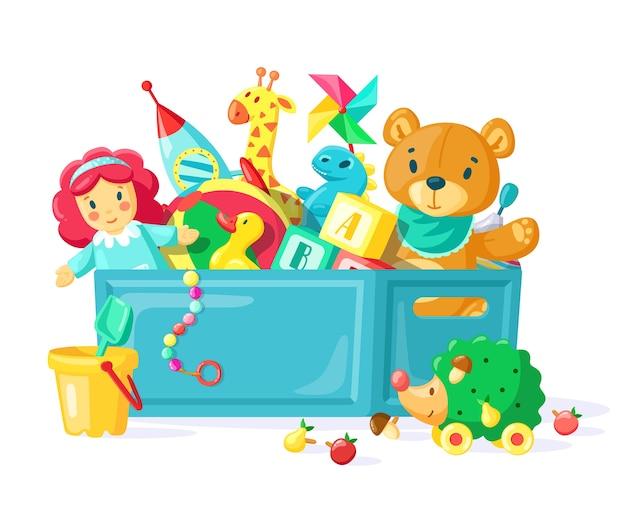 Ilustração de brinquedos infantis em recipiente de plástico